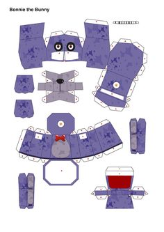 five nights at freddy's PurpleBonnie Papercraft p1 by Adogopaper