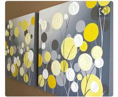 Mustard Yellow and Grey Wall Art, Textured Painting, Abstract Flowers, Acrylic Painting on Canvas-- Made to Order Art Floral, Diy Wall Art, Diy Art, Art Jaune, Cuadros Diy, Art Sur Toile, Grey Flowers, Acrylic Painting Canvas, Painted Canvas
