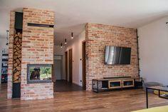 House Design, Industrial House, Cozy House, Small House Plans, Loft Design, New Homes, Brick Decor, Brick Living Room, House Interior Decor