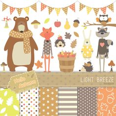Autumn Animals Digital Clipart Digital por LightbreezeBoutique