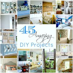 Links to lots of great DIY home projects- with pictures so you don't have to click and click back. I'm sving this for when we own a home again. :)    45 DIY projects @ Tatertots and Jello
