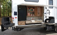 I love this Outdoor camp kitchen!... maybe someday with a bigger camper, but for now the little outdoor kitchen I built will do