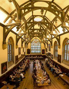 Wadham College Hall at Jesus College, Cambridge, England. I ate here!!