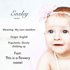Ensley  Ensley is a cute little name for any cute little girl!  I think Ensley should be used much more but if you name your child this, she'll be very unique! Ensley's are fun but quite, she'll love to be outside! Ensley's will always come to help you when you need it most!  Close names to Ensley are.... Emsley, Enslee, Esme, Ellsley This is a cute name for your new addition! What do you think about this name?