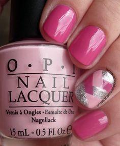 pink herringbone accent nail