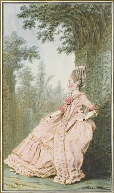 Portrait de Madame de Moracin,assise de profil, portant une robe à paniers rose ornée dedentelle et de passementerie, tenant unéventail,dans un parc, 1768 Louis Carrogis dit Carmontelle