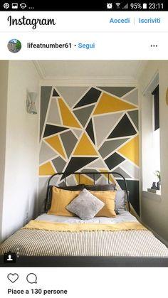 133 best DIY bedroom wall decor – home decor – … Diy Wall Decor For Bedroom, Bedroom Wall Designs, Diy Bedroom, Home Decor, Bedroom Ideas, Bedroom Pictures, Modern Bedroom, Geometric Wall Paint, Room Interior