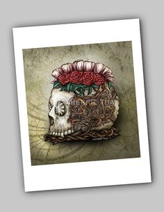 Steampunk Skull Gothic Horror Surrealism, Fine Art Print, by Sherrie Thai of shaireproductions