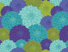 purple teal and olive floral pattern