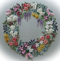 Garland of Silk Ribbon flowers - Pattern and Print embroidery kit  £13.50