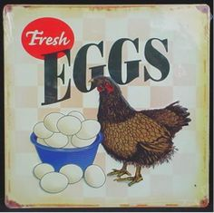 14in x 14in. Vintage Country Metal Sign FRESH EGGS Poultry Farm Chicken Decor