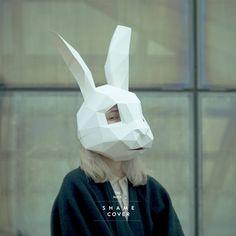 Rabbit Mask,Bunny Mask,DIY 3D mask,PDF,Polygon Paper Mask,Template,Printable,Animal,Pattern mask,Har Paper Mask, 3d Paper, Paper Crafts, Animal Masks, Animal Heads, Bunny Mask, Diy 3d, Printable Animals, Mask Template