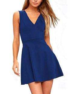 ff816e6871 Zalalus Women s Sexy Deep V Neck Sleeveless Summer Casual Skater Dress at Amazon  Women s Clothing store