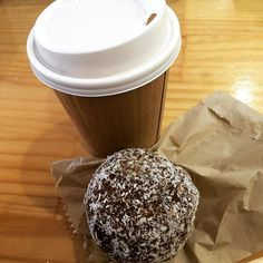 Coffee and yum ball for the drive back to QLD. Feeling blessed and thankful for this trip. Awesome music last night and lots of driving around today remembering happy times and special places. 'Til next time Coffs 👋🏻💗☺️  Yummery - best recipes. Follow Us! #veganfoodporn