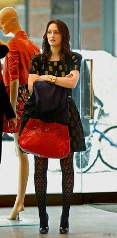 Leighton Meester wearing Chanel Bag, Marc by Marc Jacobs Jacquard  Short-Sleeve Dress, Kara Ross Large Shirt Cuff in White Glitter Karung,  Wolford Nostalgia ... 65f075b3f2