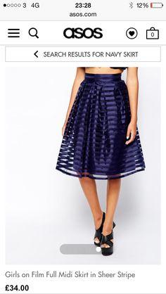Navy Mesh Stripe Midi Skirt | New Look | bridesmaid | Pinterest ...