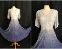 Vintage 1980s Together! Dress 80s Hippie Broomstick Sheath Lace Blue White Dress Size 10 M Medium Bust 40 Spiegel