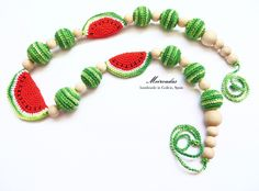 ON SALE! Watermelon crochet necklace, Nursing necklace, Teething necklace, Mommy necklace, Breastfeeding, Organic necklace, Mama jewelry de Meiroadas en Etsy