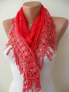 Red Shawl Red Laced Fabric with Trim Edge by SwedishShop on Etsy