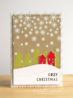 Neat and Tangled: October Release Day Introducing Winter Wishes + Falling Flakes! Simple Christmas Cards, Holiday Greeting Cards, Christmas Cards To Make, Cozy Christmas, Xmas Cards, Handmade Christmas, Neat And Tangled, Winter Cards, Cool Cards