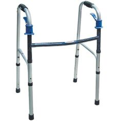Folding Adjustable Walker by Drive. $64.95. Adjusts from 32 to 36 high. Aluminum tubing with plastic hand-grips. Measures 23 wide. Shipping weight: 5 lbs.