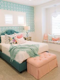 Trendy Bedroom, Small Room Bedroom, Bedroom Design, Woman Bedroom, Girls Bedroom, Bedroom Diy, Girl Room, Small Room Design, Bedroom Colors