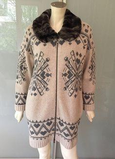 Kaufe meinen Artikel bei #Kleiderkreisel http://www.kleiderkreisel.de/damenmode/cardigans/135615046-twin-set-simona-barbieri-strickjacke-beige-grau-38-wolle-pelz-cardigan-brown-m