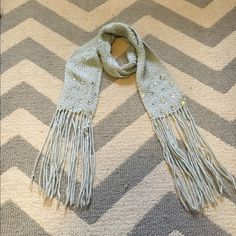 Mint winter scarf with gems and tassels Worn and loved. Fun detailing. Accessories Scarves & Wraps