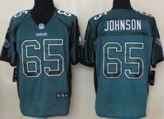 Nike Philadelphia Eagles #65 Lane Johnson 2013 Drift Fashion Green Elite Jersey