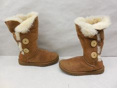 Ugg Authentic 1873 Bailey Button Triplet Chestnut Suede Sheep Winter Boots Sz 6…