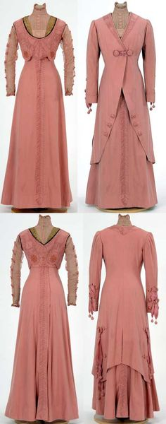 Pink wool suit, 1906. Two pieces, trimmed with pink ribbon and lace. Made by dressmaker Julia Tomasek, St. Paul, Minnesota. Minnesota Historical Society Collections.