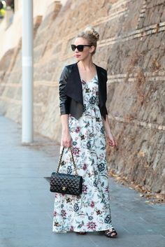 Transitional Maxi: floral print maxi dress, cropped leather jacket, Chanel medium classic flap bag black lambskin and gold hardware, lace-up leather sandals, leather jacket with maxi dress for fall