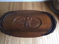 Vintage Oak Coffee Table With Carved Eagle EARLY 1900u0027s Includes Glass Top