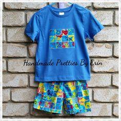 Handmade Pretties By Erin Boys blue dino set 1 x size 1 1 x size 2