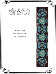 Pattern for bracelet, Peyote Ethnic sun peyote bracelet cuff pattern in PDF…