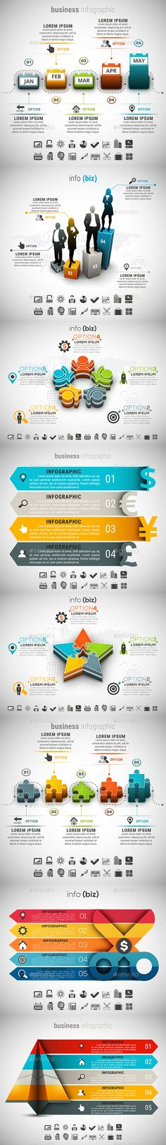 8 in 1 Business Infographics Template Bundle - PSD, Vector EPS, AI Illustrator