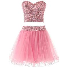 Ikerenwedding Women's Sweetheart Sequins Short Tulle Two Pieces... ($110) ❤ liked on Polyvore featuring dresses, pink sequin cocktail dress, two piece dresses, short pink dress, short dresses and pink dress
