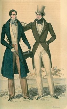 These two dandies are from the mid 1800s. The have long over coats, one with coat tail. They are both pinched at the waist.