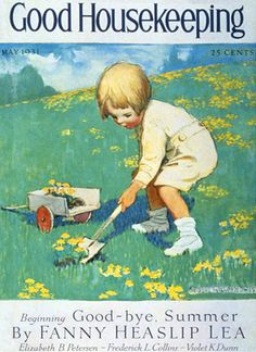 Good Housekeeping Copyright 1931 Little Girl Gardening - www.MadMenArt.com | Good Housekeeping is a women's magazine founded in 1885. We especially like the sweet cover illustration until 1934. #GoodHousekeeping #WomensMagazine #Illustrations #MagazineCovers# #GraphicArt #GraphicDesign