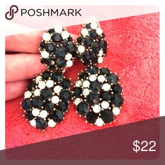 Large stunning crystal earrings Blue black and white crystals Jewelry Earrings