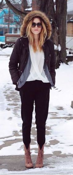 #winter #fashion / casual + faux fur parka