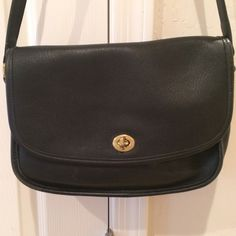 VINTAGE COACH LEATHER PURSE Navy blue soft leather bag in excellent condition it has a zipper compartment inside and a flap compartment in the front and back. Coach Bags Crossbody Bags
