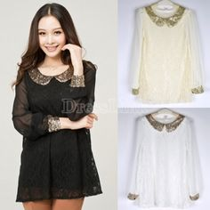 Women's Loose Sequins Doll Collar Chiffon Long Sleeve Lace Shirt Tops Blouse