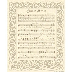 CHRIST AROSE  8 x 10 Antique Hymn Art Print on by VintageVerses, $5.00