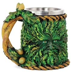Greenman Tankard Mug Altar Chalice Goblet Wicca Pagan Witchcraft Pagan Witchcraft, Magick, Wiccan Sabbats, Pagan Gods, Mugs For Men, Celtic Art, Celtic Symbols, Kitchen Witch, Glass Art