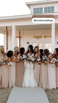 Neutral Bridesmaid Dresses, Bridesmaids And Groomsmen, Wedding Dresses, Champagne Bridesmaid Dresses, Bridal Party Dresses, Modest Wedding, Bridesmaids With Different Dresses, Bridal Gown, Wedding Shoes