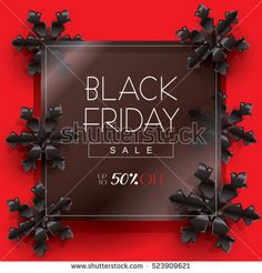 Black Friday. Sale poster design, template. Vector. Black Friday Sale discount wallpaper with Black snowflakes on glass background. Holiday Sale Advertising online. Christmas Cyber Monday Shop 50% off