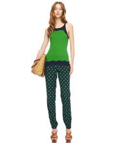 -49EE MICHAEL Michael Kors  Dip-Dye Knit Tank & Diamond-Print Track Pants