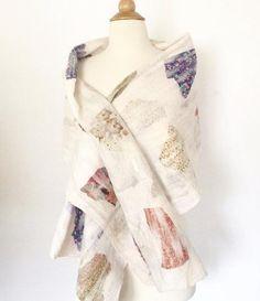 8251cb37b0 Winter White Nuno Felted Merino Wool-Sari Silk