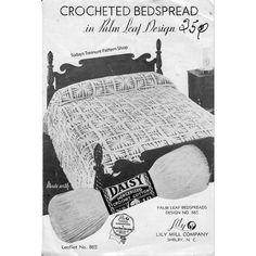 Vintage Crochet Bedspread Pattern in Palm Leaf Medallions